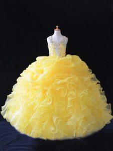 Captivating Sleeveless Beading and Ruffles and Pick Ups Zipper Girls Pageant Dresses