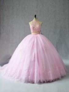 Popular Baby Pink Two Pieces Tulle Halter Top Sleeveless Beading and Appliques Zipper Quinceanera Gown Court Train
