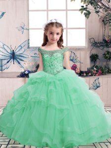 Luxurious Floor Length Apple Green Little Girls Pageant Dress Tulle Sleeveless Beading