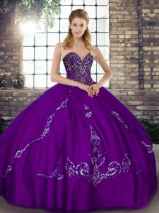 Sleeveless Floor Length Beading and Embroidery Lace Up Sweet 16 Quinceanera Dress with Purple