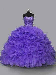 Purple Organza Lace Up Sweetheart Sleeveless Floor Length Sweet 16 Dress Beading and Ruffles