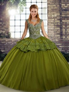 Ideal Tulle Straps Sleeveless Lace Up Beading and Appliques 15 Quinceanera Dress in Olive Green