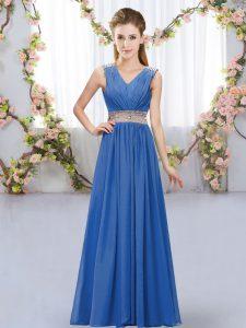 Elegant Floor Length Blue Vestidos de Damas V-neck Sleeveless Lace Up