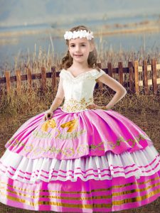 Ideal Lilac Lace Up Off The Shoulder Embroidery Pageant Gowns For Girls Satin Sleeveless