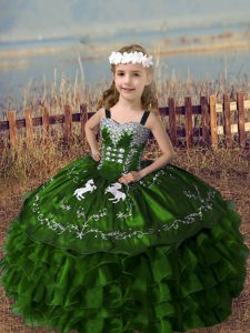 Customized Olive Green Girls Pageant Dresses Wedding Party with Embroidery and Ruffled Layers Straps Sleeveless Lace Up