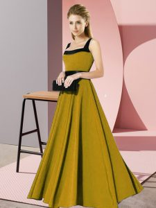 Sophisticated Chiffon Sleeveless Floor Length Vestidos de Damas and Belt