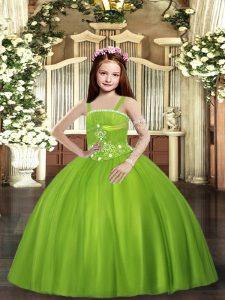 Amazing Floor Length Olive Green Pageant Dress Womens Tulle Sleeveless Beading