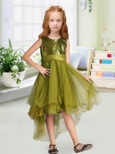 Luxury Olive Green Organza Zipper Scoop Sleeveless High Low Little Girls Pageant Gowns Sequins and Bowknot