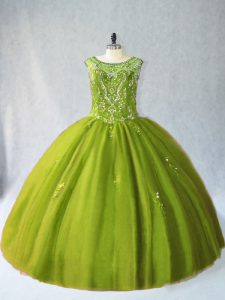 Fabulous Scoop Sleeveless Sweet 16 Dresses Floor Length Beading Olive Green Tulle