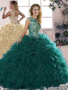 On Sale Floor Length Ball Gowns Sleeveless Peacock Green 15 Quinceanera Dress Lace Up