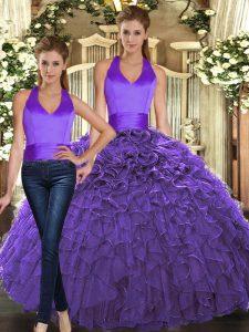 Organza Halter Top Sleeveless Lace Up Ruffles Sweet 16 Dresses in Purple