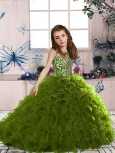 Olive Green Organza Lace Up Little Girls Pageant Gowns Sleeveless Floor Length Beading and Ruffles