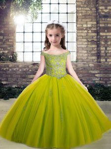Scoop Sleeveless Lace Up Child Pageant Dress Olive Green Tulle