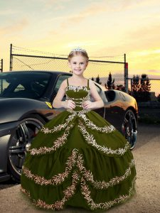 Nice Straps Sleeveless Lace Up Custom Made Pageant Dress Olive Green Satin