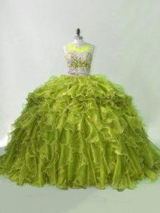 Nice Olive Green 15th Birthday Dress Organza Brush Train Sleeveless Beading and Ruffles