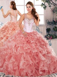 Watermelon Red Sleeveless Organza Clasp Handle Vestidos de Quinceanera for Military Ball and Sweet 16 and Quinceanera