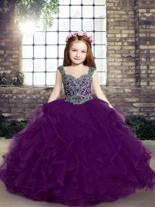 Fabulous Eggplant Purple Ball Gowns Tulle Straps Sleeveless Beading and Ruffles Floor Length Lace Up Pageant Dress Toddler