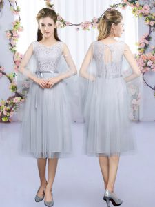 Best Selling Grey Sleeveless Lace and Belt Tea Length Quinceanera Dama Dress