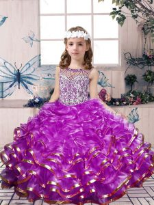 Organza Scoop Sleeveless Lace Up Beading and Ruffles Little Girl Pageant Dress in Lilac