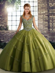 Fashion Sleeveless Lace Up Floor Length Beading and Appliques Ball Gown Prom Dress