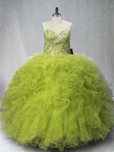 Floor Length Olive Green Quinceanera Dress Sweetheart Sleeveless Lace Up