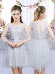 Lace and Belt Dama Dress Grey Lace Up Sleeveless Mini Length