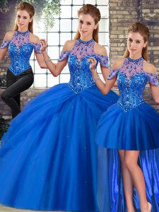 Hot Sale Halter Top Sleeveless Ball Gown Prom Dress Brush Train Beading and Pick Ups Blue Tulle