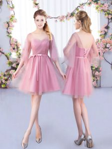 Eye-catching Pink Lace Up V-neck Appliques and Belt Damas Dress Tulle Half Sleeves