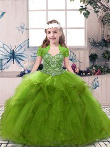 Super Beading Little Girl Pageant Gowns Olive Green Lace Up Sleeveless Floor Length