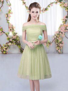 Latest Olive Green Off The Shoulder Neckline Belt Damas Dress Short Sleeves Lace Up