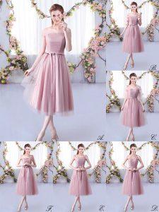 Tea Length Empire Sleeveless Pink Dama Dress Lace Up
