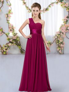 Fuchsia Chiffon Lace Up One Shoulder Sleeveless Floor Length Dama Dress for Quinceanera Belt
