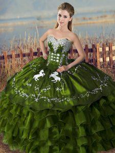 Flirting Olive Green Sleeveless Embroidery and Ruffles Floor Length Sweet 16 Dresses