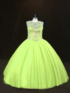 Custom Designed Scoop Sleeveless Quinceanera Gowns Floor Length Beading Yellow Green Tulle