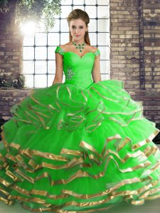 Custom Fit Green Ball Gowns Beading and Ruffled Layers Quince Ball Gowns Lace Up Tulle Sleeveless Floor Length