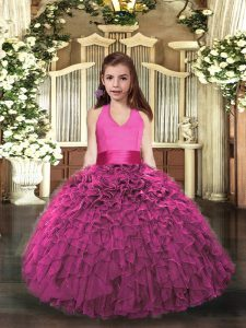 Hot Pink Organza Lace Up Pageant Gowns For Girls Sleeveless Floor Length Ruffles