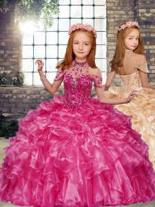 Modest Hot Pink Girls Pageant Dresses Party and Military Ball and Wedding Party with Beading and Ruffles High-neck Sleeveless Lace Up