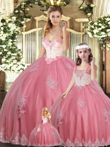 Watermelon Red Sleeveless Beading and Appliques Floor Length Quinceanera Gowns