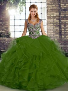 Superior Sleeveless Floor Length Beading and Ruffles Lace Up 15th Birthday Dress with Olive Green