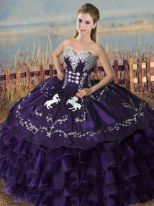 Excellent Purple Sweet 16 Quinceanera Dress Sweet 16 and Quinceanera with Embroidery and Ruffles Sweetheart Sleeveless Lace Up