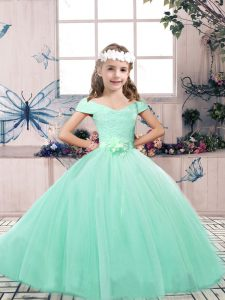 Sleeveless Lace Up Floor Length Lace and Belt Little Girls Pageant Gowns