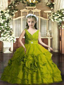 Popular Sleeveless Beading Backless Little Girls Pageant Dress
