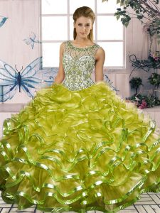 Hot Selling Scoop Sleeveless Lace Up Quince Ball Gowns Olive Green Organza