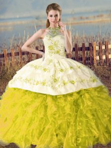 Discount Sleeveless Embroidery and Ruffles Lace Up Sweet 16 Dress with Yellow Green and Yellow Court Train
