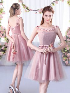 Pink A-line Appliques and Belt Vestidos de Damas Lace Up Tulle Sleeveless Knee Length