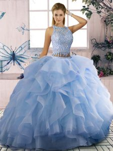 Sleeveless Zipper Floor Length Beading and Ruffles Quinceanera Gowns