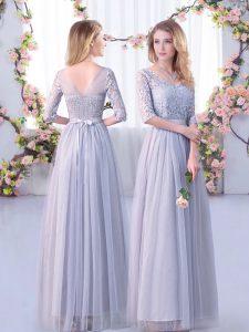 Popular Empire Quinceanera Court Dresses Grey V-neck Tulle Half Sleeves Floor Length Side Zipper