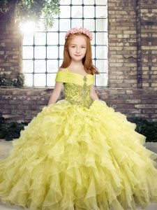 Yellow Pageant Dress Party and Military Ball and Wedding Party with Beading and Ruffles Straps Sleeveless Lace Up