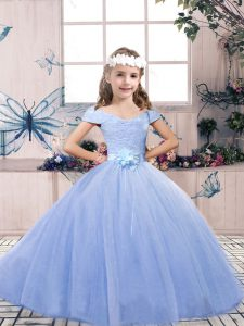 Low Price Floor Length Lace Up Pageant Gowns For Girls Light Blue for Party and Wedding Party with Lace and Belt