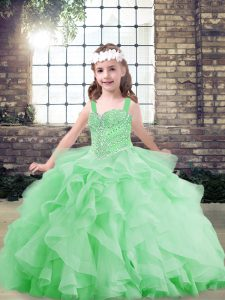 Straps Sleeveless Tulle Kids Formal Wear Beading and Ruffles Lace Up
